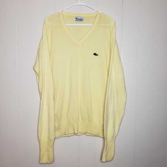 1205b4f6f3 Lacoste Sweaters - Vintage Lacoste Izod Pale Yellow V-Neck Sweater